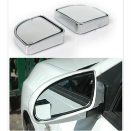 Blind View Canada - Wholesale-1Pair Push Rearview View Convex Mirror Wide Angle Sector Adjustable Auto Car Blind Spot Mirror styling Silver Free Shipping