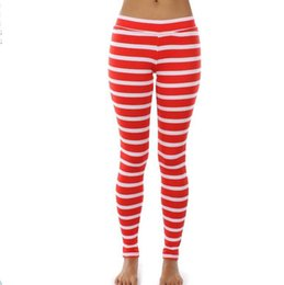 Leggings Rayas Sexy Baratos-Venta al por mayor- # 1206 S-XL Rojo blanco Leggings rayas Leggings de Navidad Fitness femenino Leggings Sexy Ropa de fitness