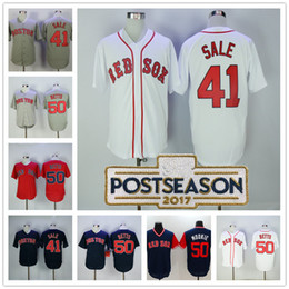 925a9bbfe ... Boston Red Sox 41 Chris Sale 50 Mookie Betts nickname Jersey Gray white  navy blue Stitched ...