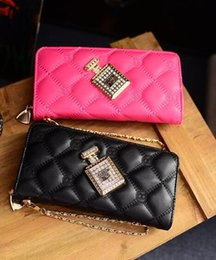 LoveLy Ladies Leather online shopping - factory sales handbags factory direct Lingge tattoo purse line lovely ladies perfume bottle ladies hand Wallet Purse trend all match diamond