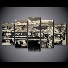 Black White Canvas Wall Prints NZ - 5 Panel HD Printed Framed Black And White Retro Car Modern Home Wall Decor Painting Canvas Art Painting Wall Pictures