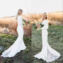 Barato Vestidos De Noiva Mangas Baratas-2018 White Ivory Beach Bohemian Mermaid Vestidos de noiva Lace Appliqued Manga comprida Sweep Train Length Vestidos de noiva Cheap Boho