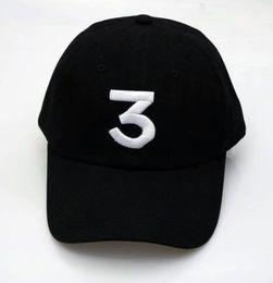 14f2f920269 New Embroidered chance the rapper 3 Hat Black Baseball Cap Fashion kanye  west dad caps casquette hip hop 6 panel Strapback sun drake god hat