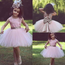 Blush Paillettes Pas Cher-Blush Pink Lace Ball Gown Flower Girls Robes Chic Cupcake Pageant Dress With Big Sequins Bow Back