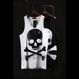 Black Shirt Loose Skull Canada - Wholesale-2016 New Casual Mens Skull Printed Hip Hip-Hop Tank Tops Bodybuliding Loose Vest Punk Sports Top Tees Wite Black T-shirt WS925