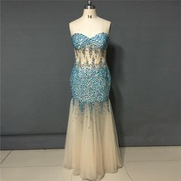 Empire De Chérie De Longue Robe Pas Cher-2018 Real Photos Robes de bal vestidos de Noiva Sexy Fashion With Crystals Sweetheart Neck Robes de soirée longues sirène