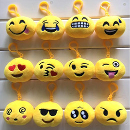 Wholesale 2017 New Key Chains cm Emoji Smiley Small pendant Emotion Yellow QQ Expression Stuffed Plush doll toy for Mobile bag pendant