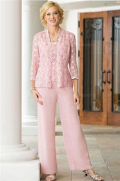 Wholesale pant suit woman resale online – Pink Lace Chiffon Three Pieces Mother Of the Bride Suit with Long Sleeve Jacket Plus Size Women Prom Party Pant Suit