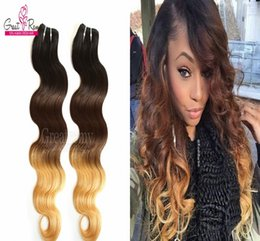 under dye hair Australia - Greatremy® Three Tone #1B 4 27 Ombre Dip Dye hair 3pcs lot Brazilian Virgin Human Hair Weave Weft Wavy Body Wave 8A Remy Hair Extensions