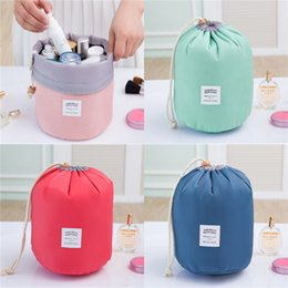 a69c21f0aa85 Women Cosmetic Bag Outdoor Travel Waterproof Drawstring Makeup Bags Barrel  Shaped Nylon Dresser Storage Pouches Factory Free DHL 414