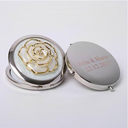 wholesale make up supplies Canada - 50Pcs Personalized Bridal Shower Gifts For Guests Customized Rose Make Up Mirror Wedding Favor With Bride Groom Name & Date