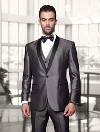 $enCountryForm.capitalKeyWord Canada - Custom Made One Button Shiny Silver Groom Tuxedos With Black Shawl Lapel Best Man Wedding Wears Groomsman Suits (Jacket+Pant+Vest+Bow)