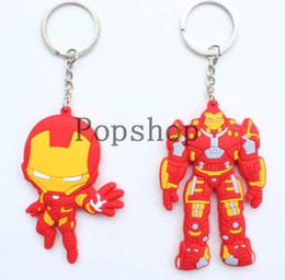 $enCountryForm.capitalKeyWord Canada - New 40 pcs lot Superhero The Avengers Iron Man Red Keychains PVC Figure Key Chains Pendants Gift