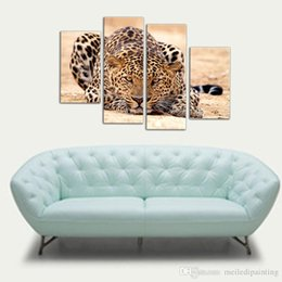 Impressions Canvas Print Canada - 4 Picture Combination Impression Animal Oil Painting Beautiful Animal Canvas Print Art Home Decor of Forest King Tiger Paintings