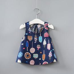 korean style girls top 2018 - Summer girls Korean color ice cream skirt full printing children cotton blouse shirt cute baby tank tops cheap korean st