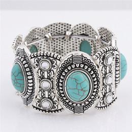 $enCountryForm.capitalKeyWord Australia - wholesale free shipping Turquoise bracelets fashion jewelry green turquoise bangle retro bracelet silver plated with crystal TB0001