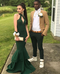 Barato Halter Vestidos De Verde Escuro-2018 Dark Green Halter Mermaid Prom Dress com saia com dupla camada Long Party Vestidos Evening Dress