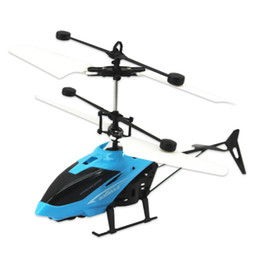 mini infrared helicopter Canada - Popular novel gifts for kids indoor flyer hand sensor mini aircraft hovering floating flying toys 3 colors infrared induction helicopter