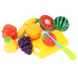 $enCountryForm.capitalKeyWord UK - Wholesale- 9PCS Children Play House Toy Cut Fruit Plastic Vegetables Kitchen Baby Classic Kids Toys Pretend Playset Educational Toys