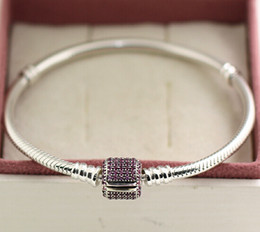 Love Moment Canada - 925 Sterling Silver Moments Pave Clasp Bracelet with Pink CZ for European Style Charms and Beads