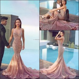 Discount formal gown brush train - 2019 Arabic Skin Pink Mermaid Prom Dresses Plum Lace Appliques Backless Brush Train Backless formal Evening Gowns Said M