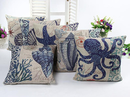 Green Office Chairs Australia - 45cm Thicker Blue Sheels Squid Animals Cotton Linen Fabric Throw Pillow 18inch Fashion Hotal Office Bedroom Decorate Sofa Chair Cushion