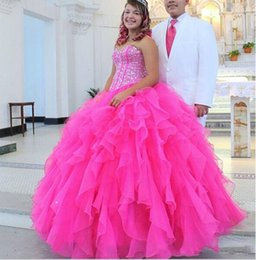 Sweet 16 Party Dresses Pink Canada - Sparking Crystal Beaded Sweet 16 Quinceanera Dresses 2016 Vestidos de 15 anos Back Corset Ball Gown Blush Pink Prom Birthday Party Gowns