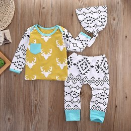 suit baby sets autumn 3pcs NZ - 2016 high quality kids suits Cute Newborn Baby Boys Girls Deer & retro logo printed Tops+Pants Legging 3PCS fashion Outfits Sets TOP Clothes