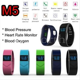 Heart Rate Iphone NZ - M5 Smart Watch Blood Pressure Blood Oxygen Fitness Health Wristwatch Sport Watch For Iphone Android Phone Heart Rate Monitoring 5pcs lot
