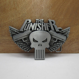 gun men belt buckle UK - BuckleHome skull belt buckle gun belt buckle with pewter finish plating FP-02175 free shipping