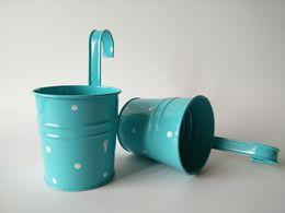 $enCountryForm.capitalKeyWord NZ - Wedding Buckets Blue Color Hanging Garden bucket tin box Iron pots Flower metal Planter with Dot design