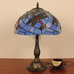 dragonfly desk light tiffany vintage blue glass dragonfly table lamp bedroom bedside desk lamp dia30cm dragonfly stained glass lamp deals