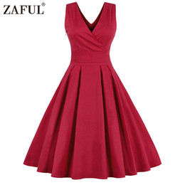 def7d1efcb98f Wholesale- ZAFUL Brand Vintage Women Dress feminino Vestidos Audrey hepburn  50s Rockabilly Retro Robe Red V Neck Summer Dresses Plus size