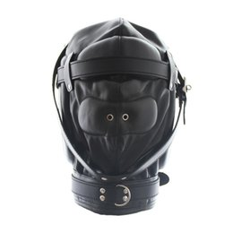 Helmet adult online shopping - fetish slave fully enclosed leathe harness head bondage hood helmets cosplay adult games restraints products mask headgear