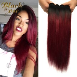 """Discount tangle free human hair extensions - Peruvian Straight Ombre Virgin Hair 4 Bundles 10""""-26"""" Red Wine Burgundy Ombre Straight Human Hair Extensions 1"""