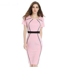 9462f57325f4 Bodycon Office Dresses Lady Elegant Career Work Dress Geometric Patchwork  Short Sleeve Slim Tunic Formal Dress