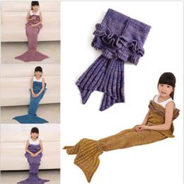 Sofa coStume online shopping - Kids Crochet Mermaid Blankets Handmade Mermaid Tail Blankets Mermaid Tail Sleeping Bag Knit Sofa Nap Blankets Costume Cocoon A1242