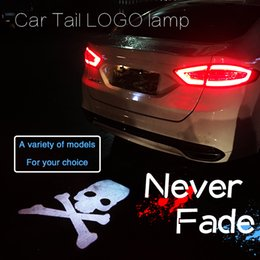 Project Light Car NZ - New Car-Styling Car Tail LOGO Projecting Lamp Lights Auto Rear Emblem Sticker LED Laser Lighting For Skelton Head Pattern