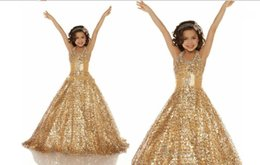 Discount teen girls dresses - Sexy Gold Sequined Girls Pageant Dresses For Teens Halter Bling Crystal Ribbon Backless Long Cheap Wedding Formal Flower