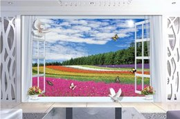 WindoW sticker paint online shopping - 3d wallpaper custom photo non woven mural wall sticker flower garden out of the window painting picture d wall room murals wallpaper