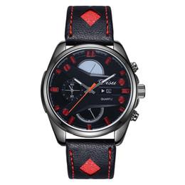 $enCountryForm.capitalKeyWord NZ - free shipping Korean style complex hollow mirror quartz watch ast selling men's Leather Strap Watch