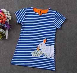 kids fur shorts 2019 - Fashion baby girl cartoon cotton stripe dresses kids children rabbit flower rainbow straight dress 2Y-6Y princess summer