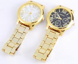 Luxury Wrist Watches Canada - hot sale Women's Luxury casual Geneva Roman Numerals Golden Alloy strap Quartz Analog Wrist Watch