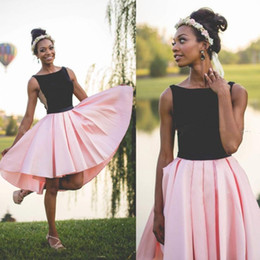 $enCountryForm.capitalKeyWord Australia - Black And Pink Short Prom Dresses South African Sleeveless Evening Gowns Black Girl Homecoming Dress Cheap Cocktail Party Dress