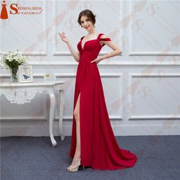 Bal Pas Cher-Chiffon Long Events Robes de bal V Neck Sexy Side Slit Cap Sleeve Rouge Robes de bal Robe de soirée Livraison gratuite Real Samples