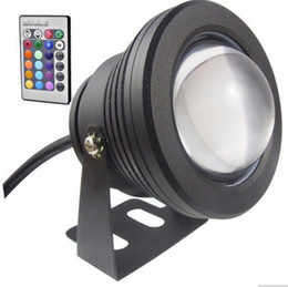 underwater floodlights UK - IP65 10W RGB Floodlight light Underwater LED Flood Lights Swimming Pool Outdoor Waterproof floodlights lighting Round DC 12V Convex Lens