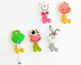 wholesale 1pcs eco friendly cute cartoon sucker toothbrush holder suction hooks bathroom set accessories cat pig 5 pattern free shipping nz118