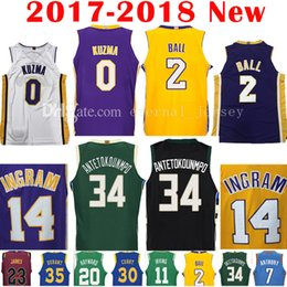 2017-18 New 0 Kyle Kuzma 2 Lonzo Ball Jersey 34 Giannis Antetokounmpo Men s 2018  14 Brandon Ingram Jerseys Embroidery and 100% Stitched ... 5657da568