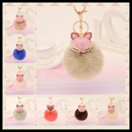 Barato Raposa De Coelho Artificial-HOT 21 Styles Rhinestones Fox Keyrings Artificial Fluffy Fox Rabbit Fur Ball Chaveiro Keychain Pendurado Pendente para Mulheres