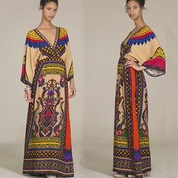 Robes Jaune Maxi Boho Pas Cher-Summer Style Print Maxi Robes Robe Kimono Jaune V Neck Long Sleeve Long Robes Africaines Retro Casual Boho Dress PDF0445